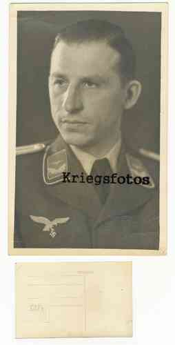Portrait Soldat der Luftwaffe in Uniform Offizier Kragenspiegel Postkarte